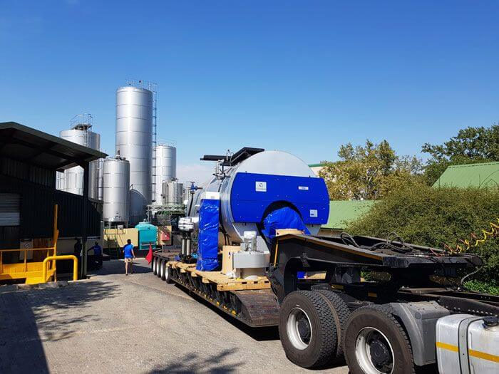 Douglasdale Dairy Delivery of New Cochran ST36 10Ton Boiler