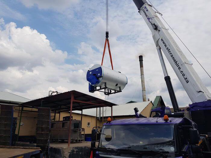 Rigging Cochran ST36 10Ton boiler into position
